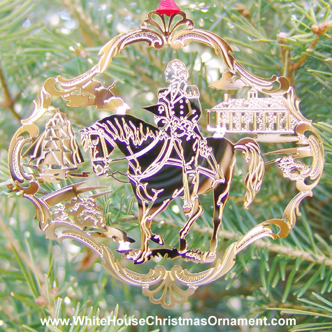 Purchase your 1992 Mount Vernon George Washington on Horseback Ornament online at whitehousechristmasornament.com -  Have a Merry Christmas and Happy Holidays
