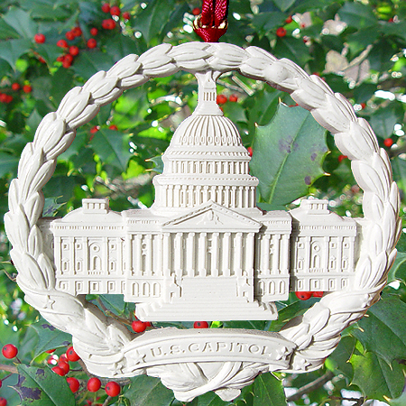 Purchase your 1998 Marble Capitol Wreath Ornament online at whitehousechristmasornament.com -  Have a Merry Christmas and Happy Holidays