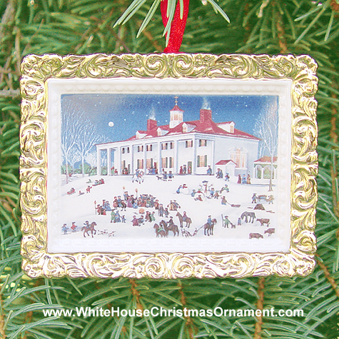 Purchase your 2000 Moonlight Caroling at Mount Vernon (East Front) Ornament online at whitehousechristmasornament.com -  Have a Merry Christmas and Happy Holidays