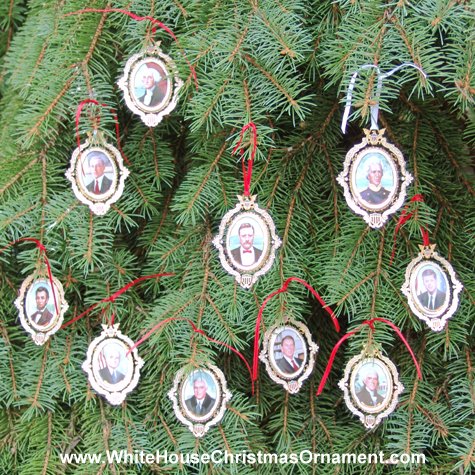 Purchase your 2004 American President Collection Complete Set of 10 Ornaments online at whitehousechristmasornament.com -  Have a Merry Christmas and Happy Holidays