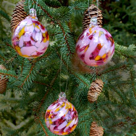 Cherry Blossom Set of Three Glass Ornaments