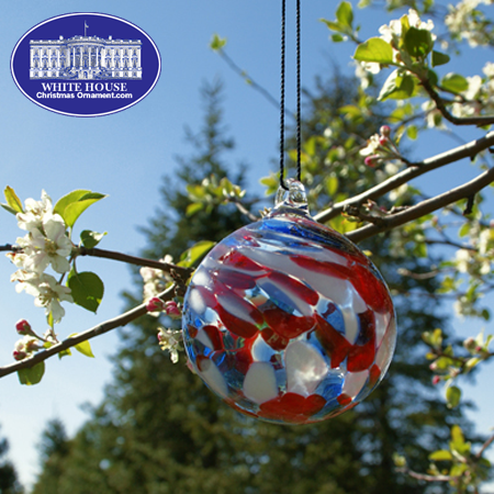 Patriotic Red, White, and Blue Glass Ornament