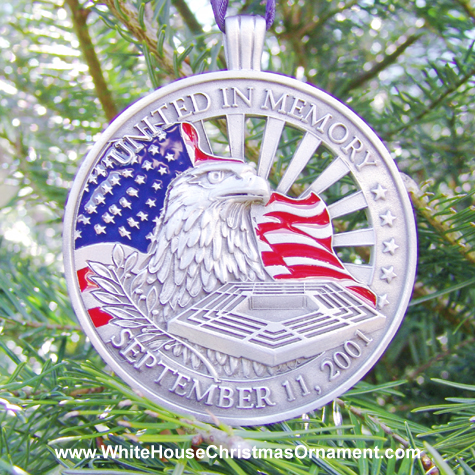 Purchase your United In Memory September 11th Ornament online at whitehousechristmasornament.com - Have a Merry Christmas and Happy Holidays