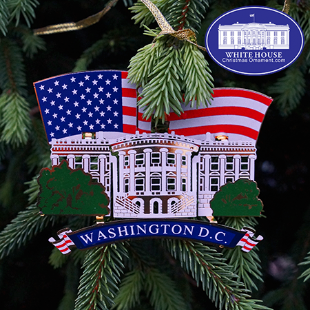 White House American Flag Ornament