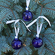 Three Air Force Blue Glass Ball Ornaments